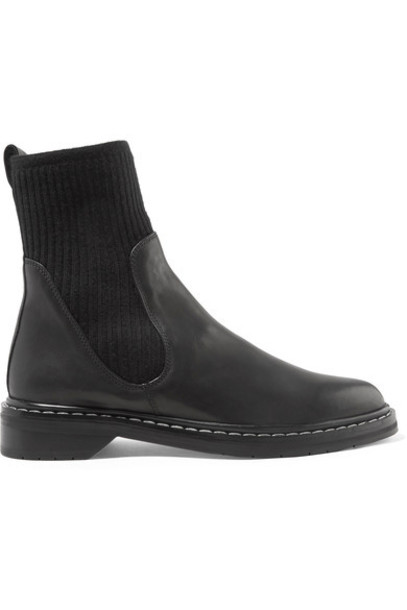 The Row - Fara Ribbed Cashmere-paneled Leather Chelsea Boots - Black