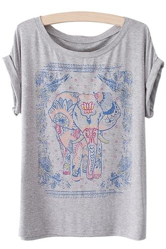 top elephant boho grey blue t-shirt shirt casual summer fashion style