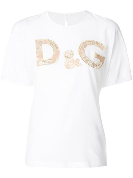 Dolce & Gabbana - floral brocade logo T-shirt - women - Silk/Acrylic/Polyester - 38, White, Silk/Acrylic/Polyester