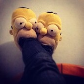 shoes,slippers,the simpsons,homer,homer simpson,yellow,mouth,eyes,nose,lovely,pretty,cute