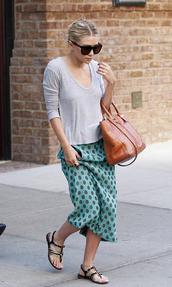 skirt,polka dots,ashley olsen,top,shoes