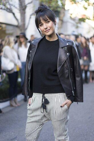 pants tumblr stripes striped pants sweatshirt black sweater jacket black jacket black leather jacket leather jacket hairstyles streetstyle fashion week 2017 fashion week