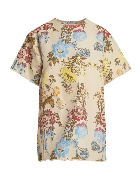 MARQUES ALMEIDA dress shirt dress t-shirt dress jacquard floral cream