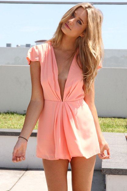 SABO SKIRT Low Lapel Playsuit - Peach - $52.00 ($52.00) - Svpply