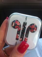 earphones,apple,gorgeous,floral,technology,floral earphones,flower earphones,headphones,flowers,froral,phone,pretty,summer,pink,green,inear