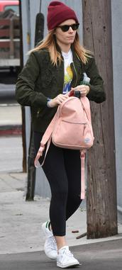 jacket,flowers jacket,kate mara,streetstyle,bag,pink bag,sneakers,shoes,white sneakers