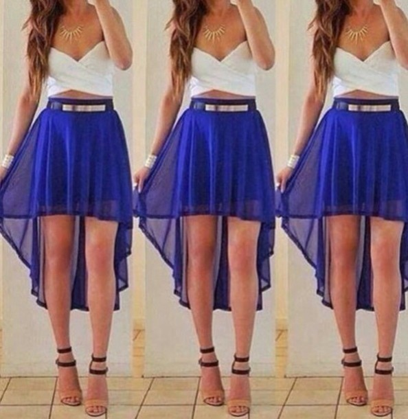 skirt mullet skirt blue skirt white crop tops white