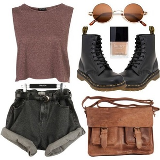 top grunge sunglasses shorts red black cool nude shoes tank top brown top