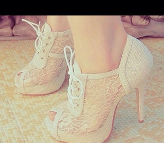 shoes heels lace up nude tall