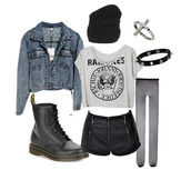 t-shirt,black shorts,leather shorts,beanie,jacket,denim jacket,tights,black tights,boots,combat boots,ramones,band t-shirt,grunge,punk,jewels,underwear,DrMartens,blouse,shirt,pants,shorts,spikes,cross,leather,leather pants,martens,black boots,denim,alternative,rock,pastel goth,pastel grunge,soft grunge,emo,goth,dark,black,shoes