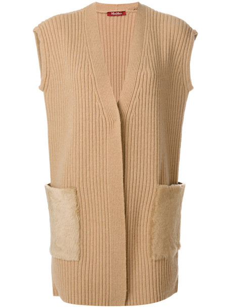 Max Mara Studio cardigan cardigan sleeveless fur fox women nude wool sweater