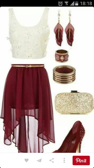skirt top shoes bag jewels