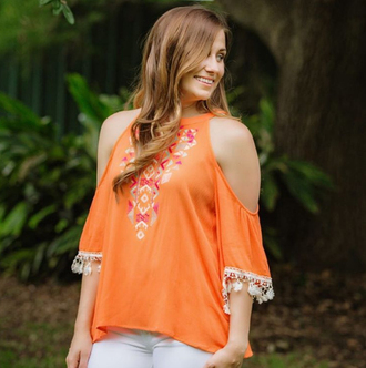 blouse cold shoulder long sleeves long sleeve cold shoulder orange cold shoulder floral cold shoulder cotton cold shoulder