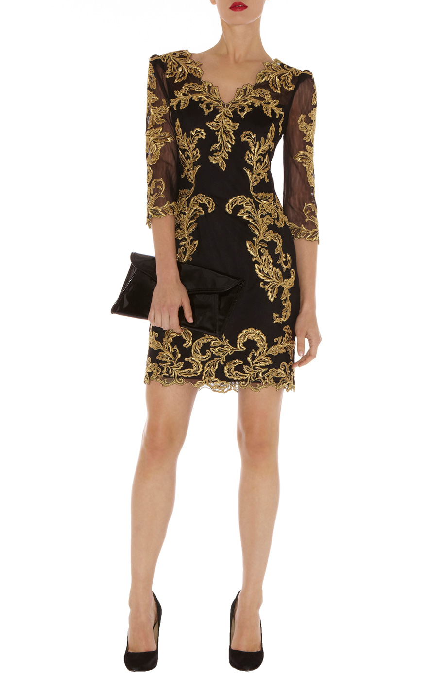 0579fc5e AfterDark | Black Baroque mesh dress | KarenMillen Stores Limited