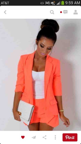 jacket neon orange cute outfit neon outfit