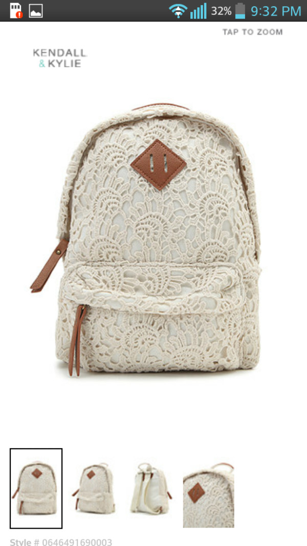 bag hat backpack lace backpack cute back to school whitelacebackpack white white lace