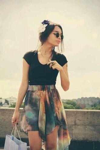 skirt galaxy print