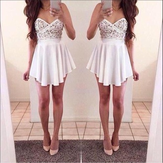 dress white short strapless