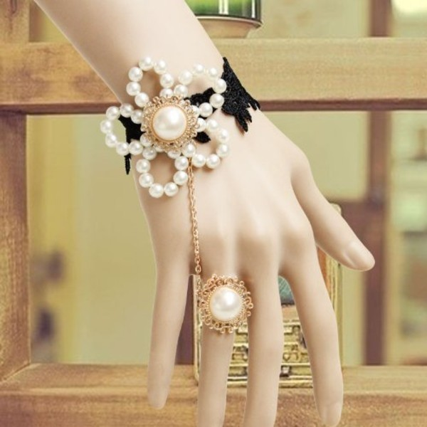 jewels pearl ring bracelet with ring