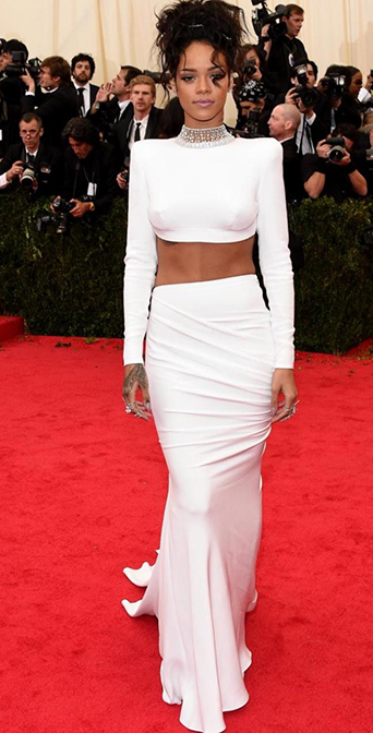 Amazing Jeweled Long Sleeves Two Pieces Gown Inspired by Rihanna 2014 Met Costume Institute Gala