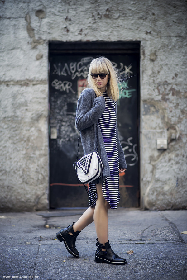 just another me blogger cardigan bag sunglasses stripes