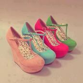 shoes,platform shoes,high heels,love,red,blue,peach,green,floral,wedges,wedge sandals,coral shoes,pink wedges,rose wedges,green wedge,turqoise wedges,mint wedges