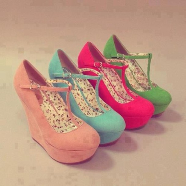 8d9525c98b0 shoes platform shoes high heels love red blue peach green floral wedges  wedge sandals coral shoes