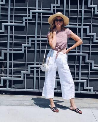 top tumblr stripes striped top pants white pants wide-leg pants shoes slide shoes bag white bag crop tops cropped pants culottes hat sunglasses