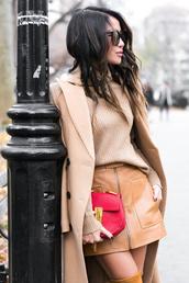 skirt,tumblr,mini dress,leather,leather skirt,zipped skirt,sweater,turtleneck,turtleneck sweater,beige sweater,coat,camel,camel coat,bag,red bag,sunglasses