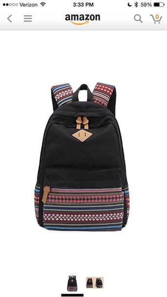 bag black tribal backpack
