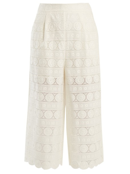 Zimmermann culottes embroidered daisy cotton pants
