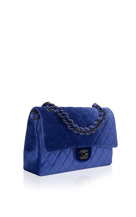 Chanel electric blue quilted velvet large classic 2.55 double flap bag by madison avenue couture