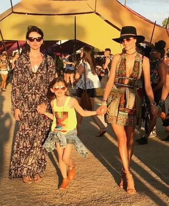 dress coachella festival hat necklace music festival alessandra ambrosio instagram