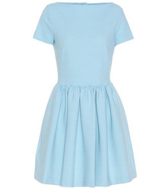 Miu Miu Striped cotton-blend dress in blue
