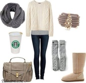 shirt,outfit,cute,starbucks coffee,sweater,amazing,fall outfits,pants,shoes,scarf,jewels,knitted sweater,white,winter outfits,cold