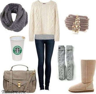 shirt outfit cute starbucks coffee sweater amazing fall outfits pants shoes scarf jewels bag sac marron. socks winter seater winter outfits winter boots white sweater cozy sweater cozy jeans leggings slim fit clothes underwear knot infinity scarf boots cami idk gloves top home accessory jacket denim
