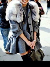 coat,jacket,gray coat,gray jacket,tumblr,fall outfits,green jacket,fur,grey,blouse,gris,fourrure,women,grey coat