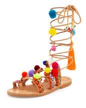 shoes,pom poms,gladiators,sandals,strappy,colorful