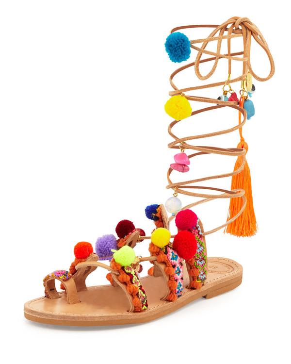 shoes pom poms gladiators sandals strappy colorful