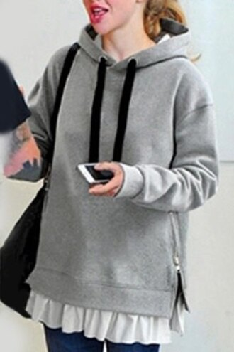 sweater grey cute fall outfits winter outfits casual style fashion hoodie back to school long sleeves