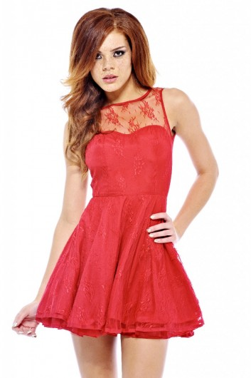 Skater Lace Kick  Out Dress - AX Paris