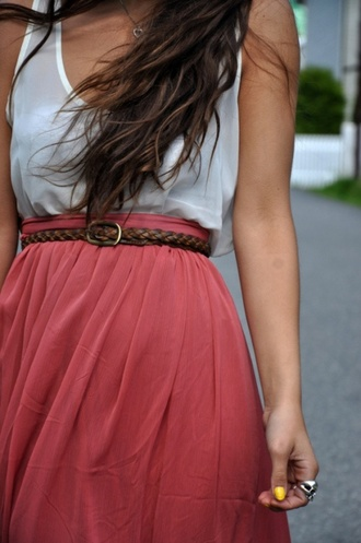 skirt dress shirt cute girly love belt pink red top white fashion pretty coral see through t-shirt pink dress purple skirt skinny belt brown belt white tank top colorblock high waisted maxi skirt buttons pink skirt summer dress white dress red skirt braided