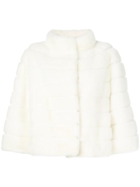 Yves Salomon coat fur coat fur women white silk