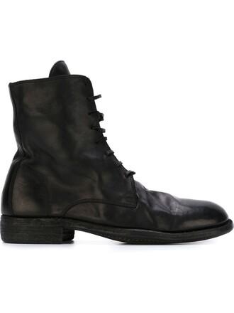 horse women boots lace leather black shoes