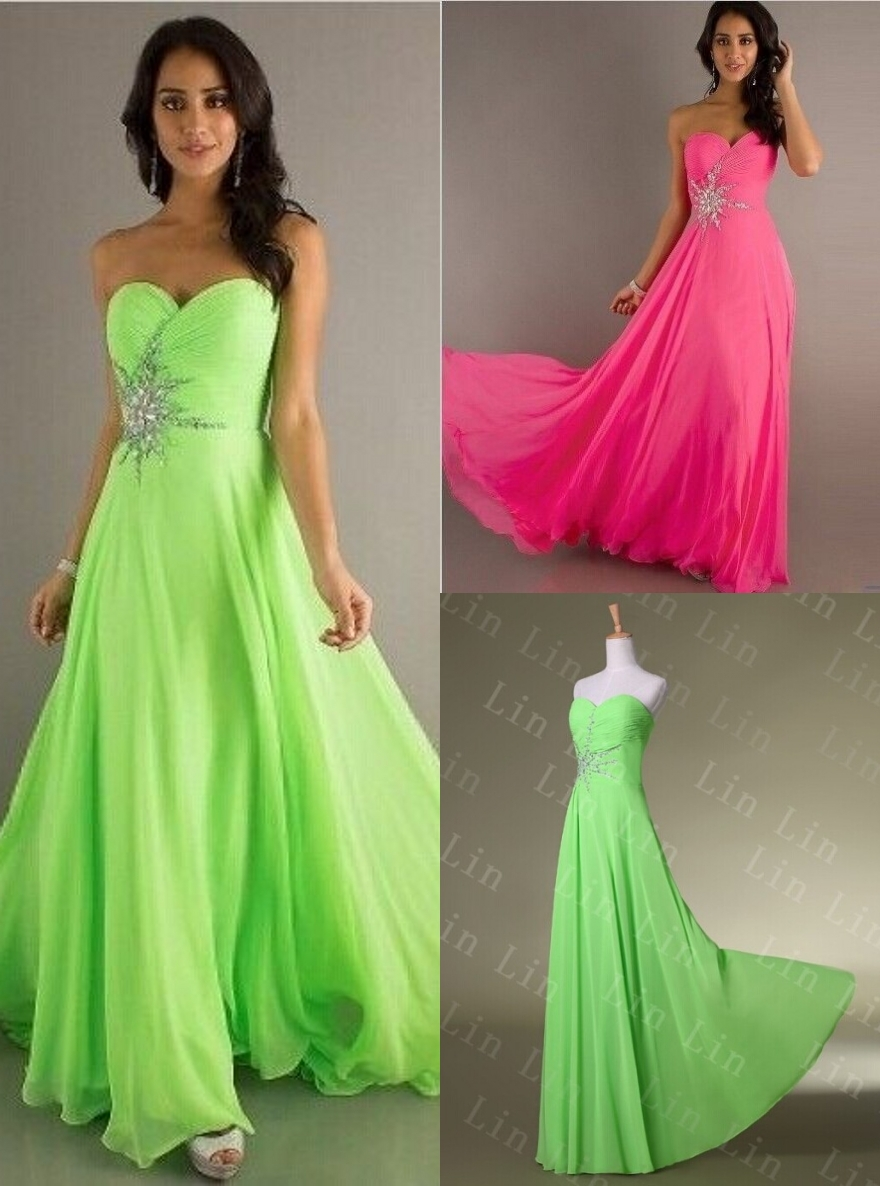 Long Prom Dresses 2014 Lime Green Hot Pink Beaded