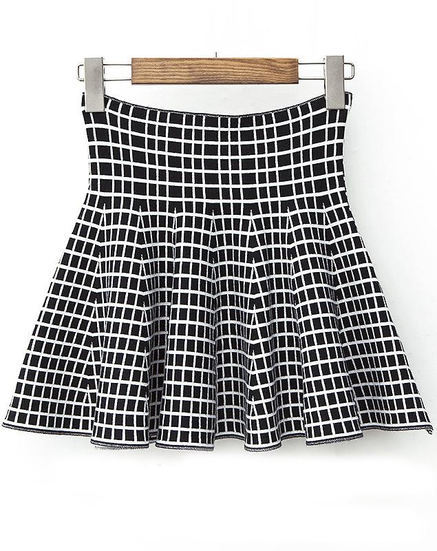 Black White Plaid Slim Pleated Knit Skirt - Sheinside.com