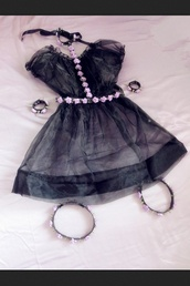 dress,chiffon,cute,pastel goth,belt,kawaii,jewels,goth,lovely,pale grunge,pastel dress,kawaii dress,cute dress,harness,flowers,lace,black dress,lace dress