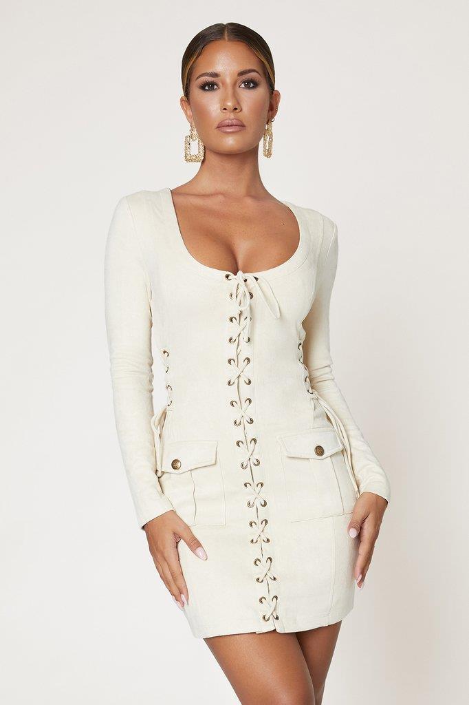 Jaiyana Long Sleeve Lace Up Mini Dress - Stone