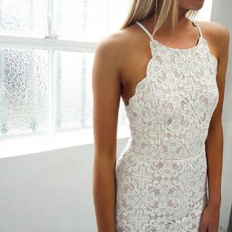 dress white lace dress lace prom dress prom halter neck