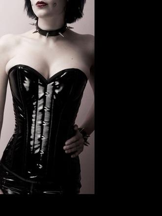top wet-look corset goth